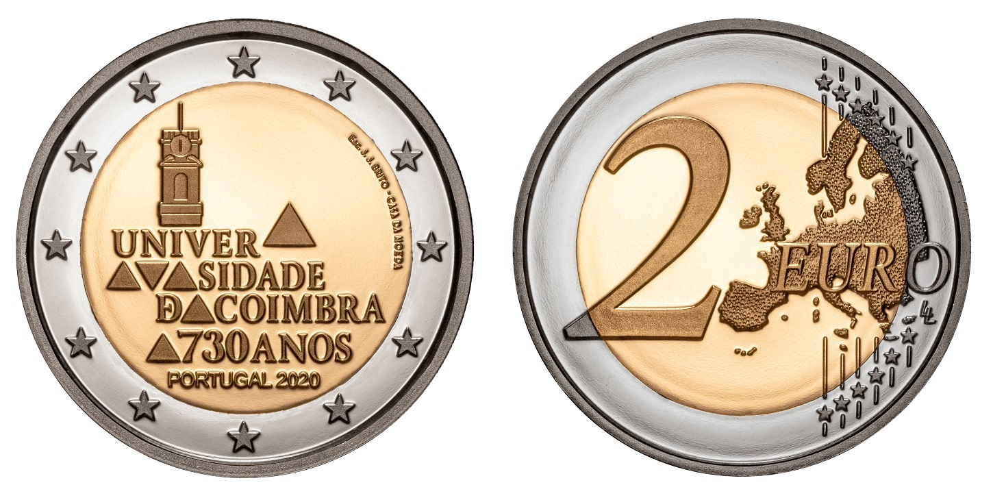 (EUR15.ComBU&BE.2020.1024126) 2 euro Portugal 2020 Proof - University of Coimbra (zoom)