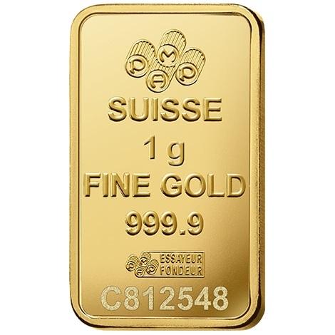 (LIN.PAMP.1.au.ZAUFS00067) Gold bar 1 gram PAMP - Fortuna Front (zoom)