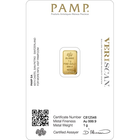 (LIN.PAMP.1.au.ZAUFS00067) Gold bar 1 gram PAMP - Fortuna (certified blister) Back (zoom)