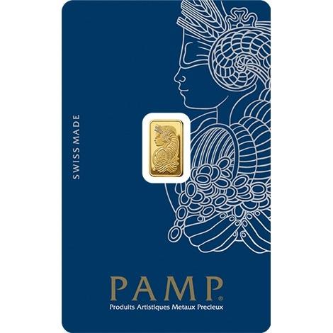 (LIN.PAMP.1.au.ZAUFS00067) Gold bar 1 gram PAMP - Fortuna (certified blister) Front (zoom)