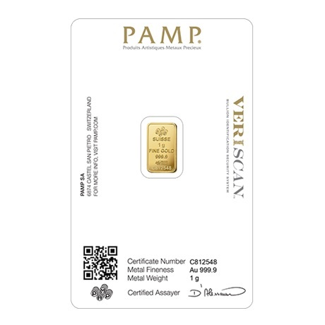 (LIN.PAMP.1.au.ZAUFS00067) Lingot or 1 gramme PAMP - Fortuna (blister certifié) Verso