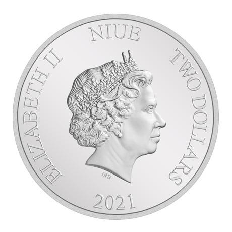 (W160.200.2021.30-00984) 2 Dollars Niue 2021 1 once argent BE - Année du Boeuf Avers
