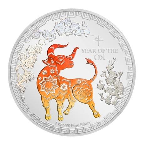 (W160.200.2021.30-00984) 2 Dollars Niue 2021 1 once argent BE - Année du Boeuf Revers