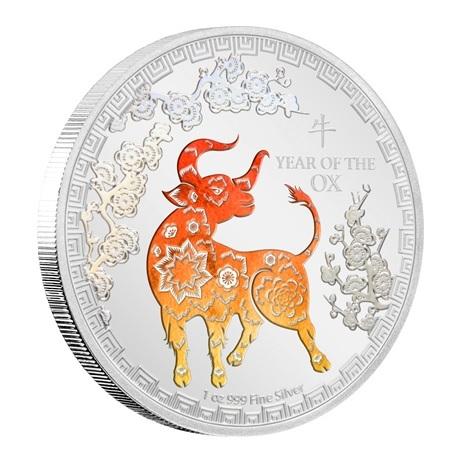 (W160.200.2021.30-00984) 2 Dollars Niue 2021 1 once argent BE - Année du Boeuf (tranche)