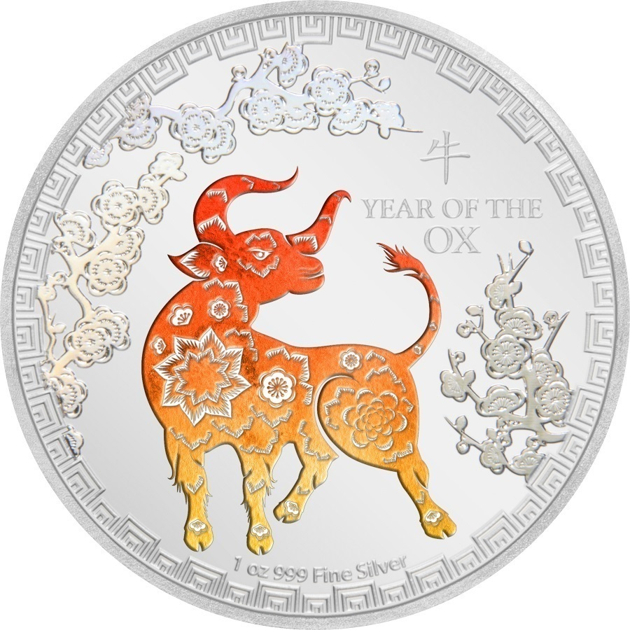 (W160.200.2021.30-00984) 2 Dollars Niue 2021 1 oz Proof silver - Year of the Ox Reverse (zoom)