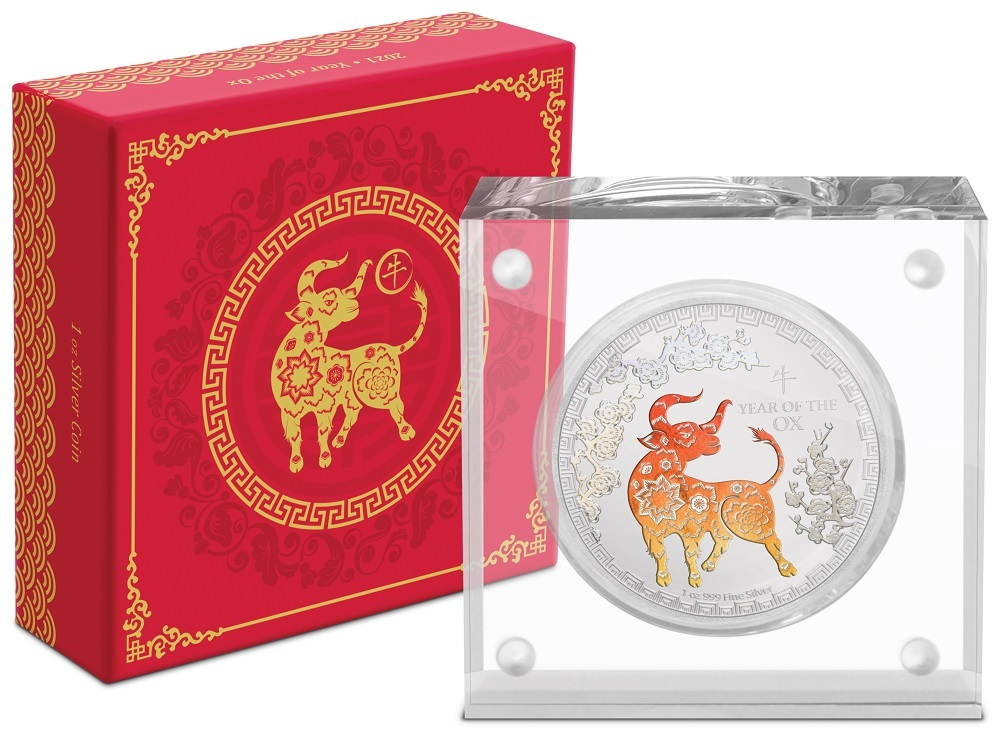(W160.200.2021.30-00984) 2 Dollars Niue 2021 1 oz Proof silver - Year of the Ox (base and box) (zoom)