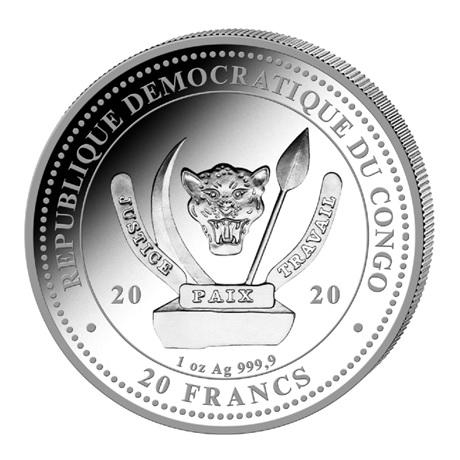 (W180.20.F.2020.1.oz.Ag.1) 20 Francs Congo 2020 1 once argent BU - Tyrannosaure Avers