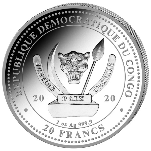 (W180.20.F.2020.1.oz.Ag.1) 20 Francs Congo 2020 1 oz BU silver - Tyrannosaure Obverse (zoom)