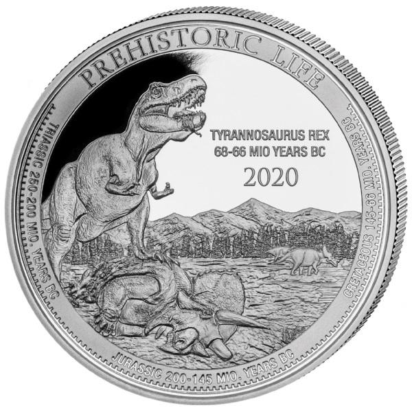 (W180.20.F.2020.1.oz.Ag.1) 20 Francs Congo 2020 1 oz BU silver - Tyrannosaure Reverse (zoom)