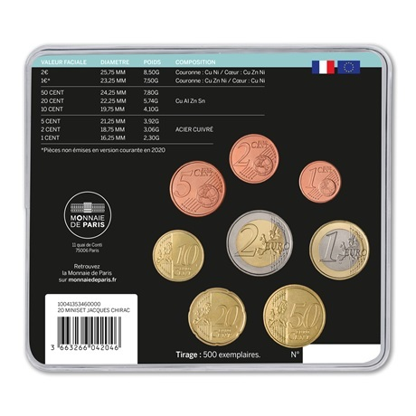 (EUR07.CofBU&FDC.2020.10041353460000) Mini-set BU France 2020 - Jacques Chirac Verso