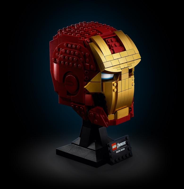 (Lego.Marvel.76165) LEGO Marvel - Iron Man helmet (three-quarter right) (zoom)