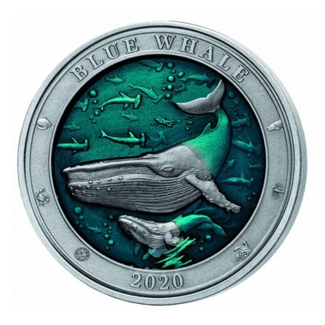 (W022.500.2020.3.oz.Ag.1) 5 Dollars Barbade 2020 3 onces argent - Baleine bleue Revers