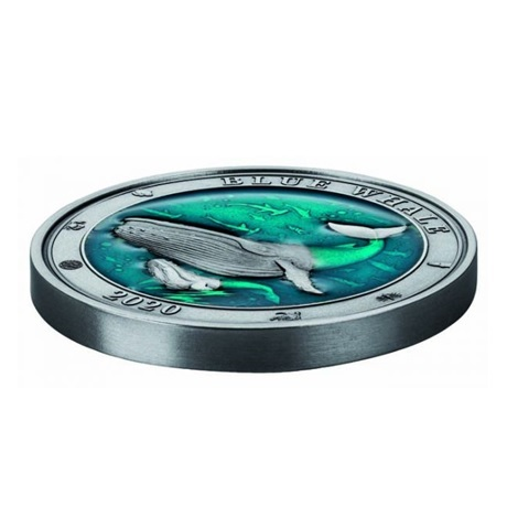 (W022.500.2020.3.oz.Ag.1) 5 Dollars Barbade 2020 3 onces argent - Baleine bleue (tranche)