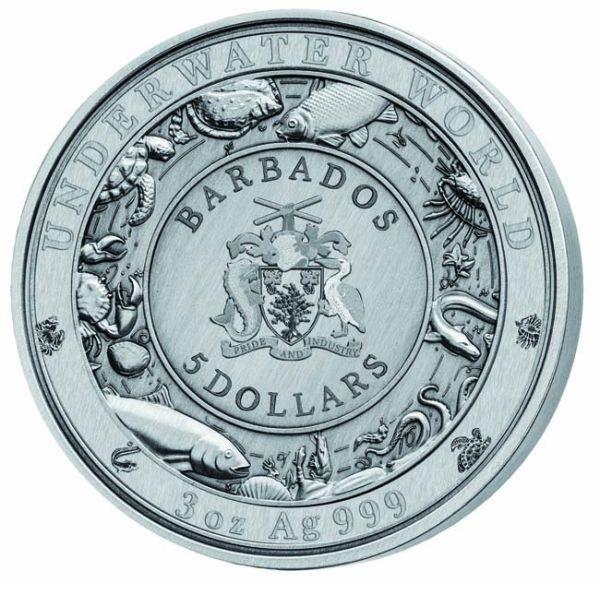 (W022.500.2020.3.oz.Ag.1) 5 Dollars Barbados 2020 3 oz silver - Blue whale Obverse (zoom)