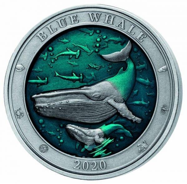 (W022.500.2020.3.oz.Ag.1) 5 Dollars Barbados 2020 3 oz silver - Blue whale Reverse (zoom)