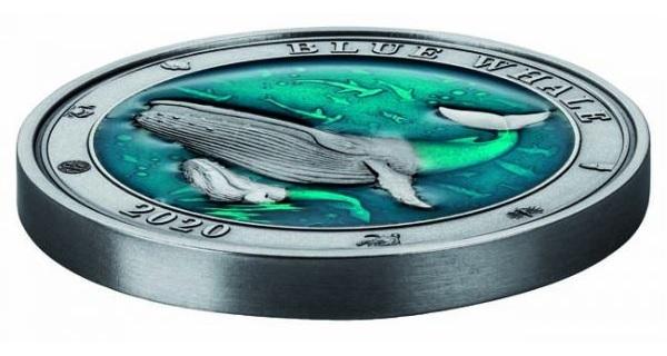 (W022.500.2020.3.oz.Ag.1) 5 Dollars Barbados 2020 3 oz silver - Blue whale (edge) (zoom)