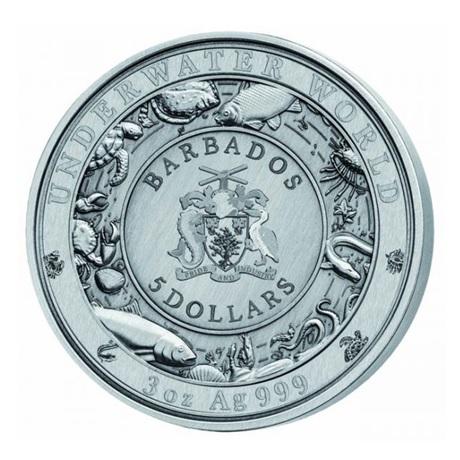 (W022.500.2020.3.oz.Ag.2) 5 Dollars Barbade 2020 3 onces argent - Phoque tacheté Avers