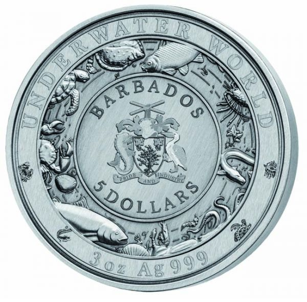 (W022.500.2020.3.oz.Ag.2) 5 Dollars Barbados 2020 3 oz silver - Spotted seal Obverse (zoom)