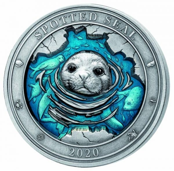 (W022.500.2020.3.oz.Ag.2) 5 Dollars Barbados 2020 3 oz silver - Spotted seal Reverse (zoom)