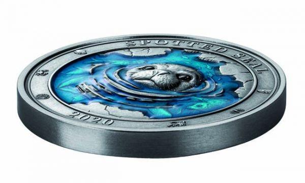 (W022.500.2020.3.oz.Ag.2) 5 Dollars Barbados 2020 3 oz silver - Spotted seal (edge) (zoom)