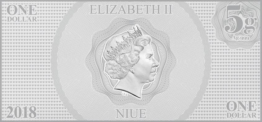 (W160.100.2018.30-00666) 1 Dollar Niue 2018 5 grams BU silver - Aurora Obverse (zoom)