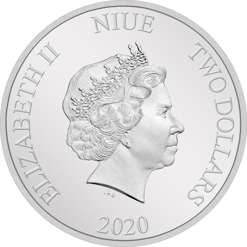 (W160.200.2020.1.ag.bullco.30-00954) 2 Dollars Niue 2020 1 oz Proof silver - Albus Dumbledore Obverse (zoom)