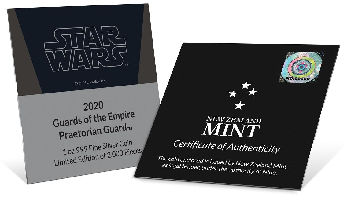 (W160.200.2020.30-00903) 2 Dollars Niue 2020 1 oz Proof Ag - Praetorian Guard (certificate) (zoom)