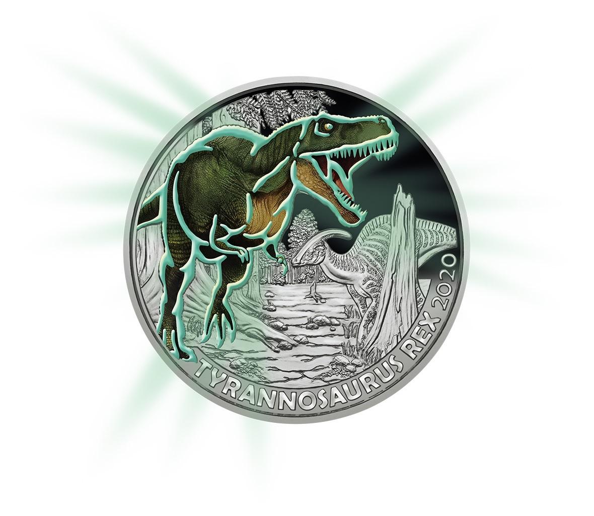 (EUR01.ComBU&BE.2020.300.24597) 3 euro Austria 2020 - Tyrannosaurus Rex Reverse (glow-in-the-dark) (zoom)