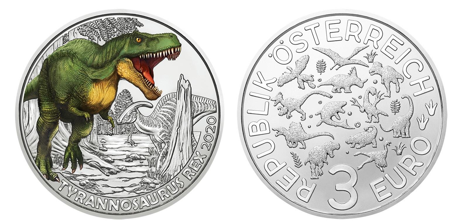 (EUR01.ComBU&BE.2020.300.24597) 3 euro Austria 2020 - Tyrannosaurus Rex (zoom)