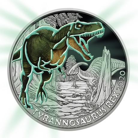 (EUR01.ComBU&BE.2020.300.24597) 3 euro Autriche 2020 - Tyrannosaure Revers (brillant dans le noir)