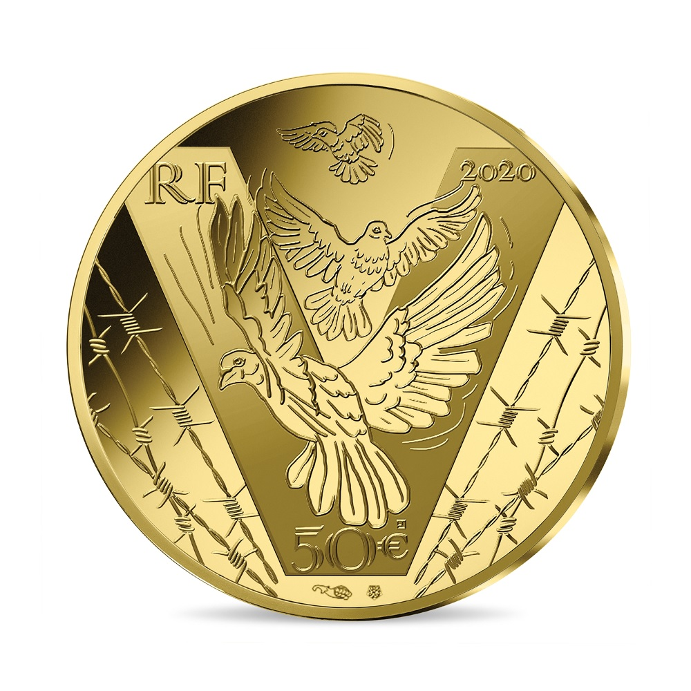 (EUR07.ComBU&BE.2020.10041343960000) 50 euro France 2020 Proof gold - Victory & peace Obverse (zoom)