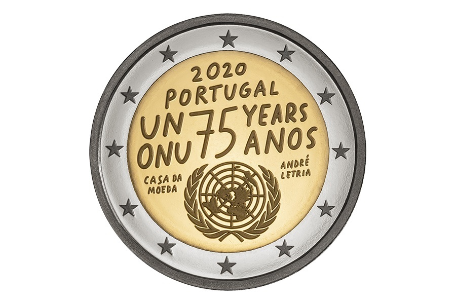 (EUR15.ComBU&BE.2020.1022075) 2 euro Portugal 2020 Proof - United Nations Obverse (zoom)