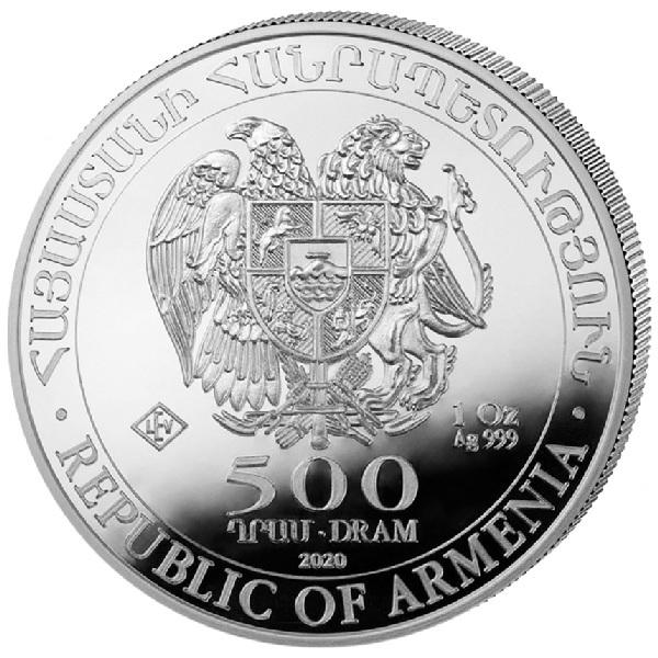(W015.50000.2020.1.oz.Ag.1) 500 Dram Armenia 2020 1 oz silver - Noah Ark Obverse (zoom)