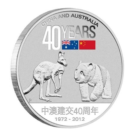 (W017.1.D.2012.12T22AAA) 1 Dollar Australie 2012 1 once argent BE - Amitié sino-australienne Revers