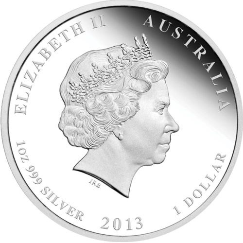 (W017.1.D.2013.2S1316DDAA) 1 Dollar Australia 2013 1 ounce Proof silver - Year of the Snake Obverse (zoom)