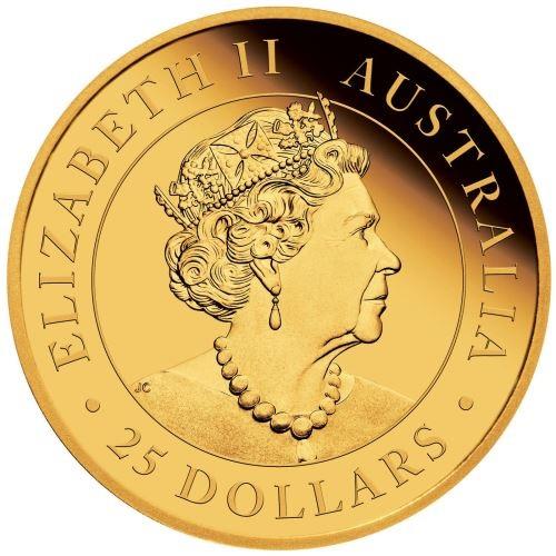(W017.25.D.2020.0.25.oz.Au.1) 25 Dollars Australia 2020 0.25 oz Proof gold - Kangaroo Obverse (zoom)