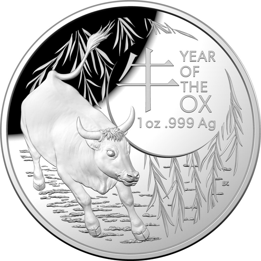 (W017.500.2021.1.oz.Ag.1) 5 Dollars Australia 2021 1 oz Proof Ag - Year of the Ox Reverse (zoom)