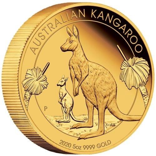 (W017.500.D.2020.1.oz.Au.BE.1) 500 Dollars Australia 2020 5 oz Proof Au - Kangaroo (edge) (zoom)