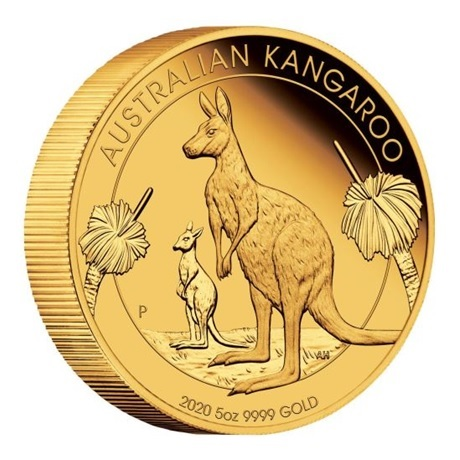(W017.500.D.2020.1.oz.Au.BE.1) 500 Dollars Australie 2020 5 onces or BE - Kangourou (tranche)