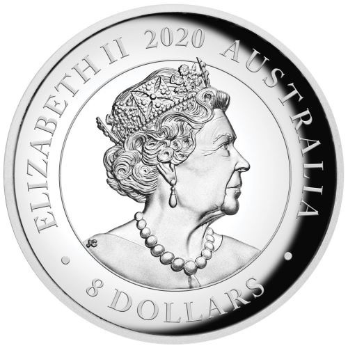 (W017.8.D.2020.20324KAAA) 8 Dollars Australia 2020 5 ounces Proof silver - Kangaroo Obverse (zoom)