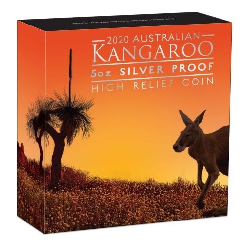 (W017.8.D.2020.20324KAAA) 8 Dollars Australia 2020 5 oz Proof Ag - Kangaroo (box) (zoom)