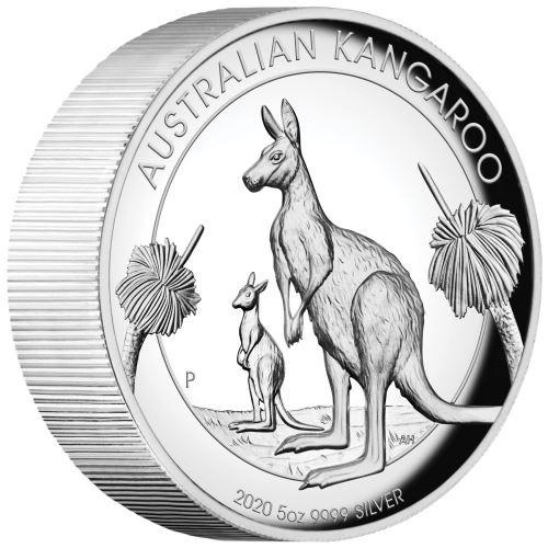 (W017.8.D.2020.20324KAAA) 8 Dollars Australia 2020 5 oz Proof silver - Kangaroo (edge) (zoom)