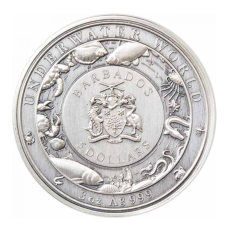 (W022.500.2021.3.oz.Ag.1) 5 Dollars Barbade 2021 3 onces argent - Pieuvre Avers