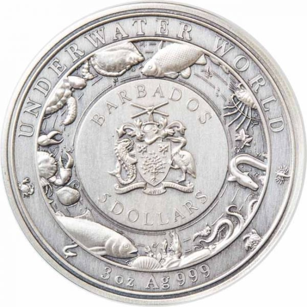 (W022.500.2021.3.oz.Ag.1) 5 Dollars Barbados 2021 3 oz silver - Octopus Obverse (zoom)