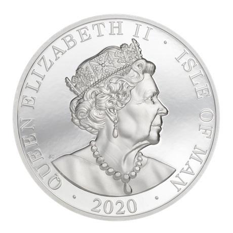(W095.1.Noble.2020.2.oz.Ag.1) 1 Noble Ile de Man 2020 2 onces argent BE - Drakkar Avers