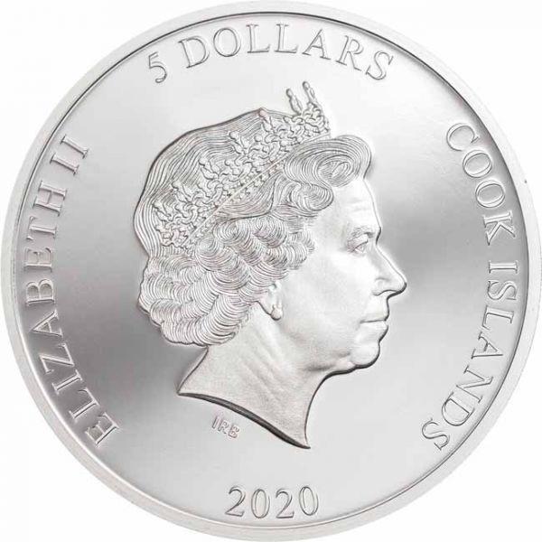 (W099.500.2020.1.oz.Ag.1) 5 Dollars Cook Islands 2020 1 oz Proof silver - Chameleon Obverse (zoom)