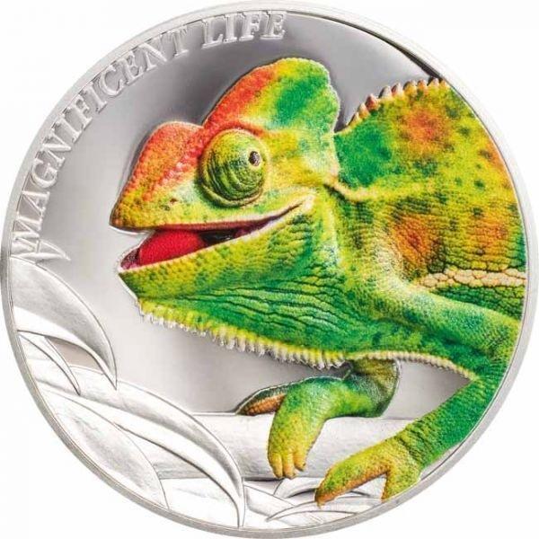 (W099.500.2020.1.oz.Ag.1) 5 Dollars Cook Islands 2020 1 oz Proof silver - Chameleon Reverse (zoom)