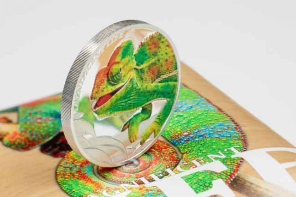 (W099.500.2020.1.oz.Ag.1) 5 Dollars Cook Islands 2020 1 oz Proof silver - Chameleon (edge) (zoom)