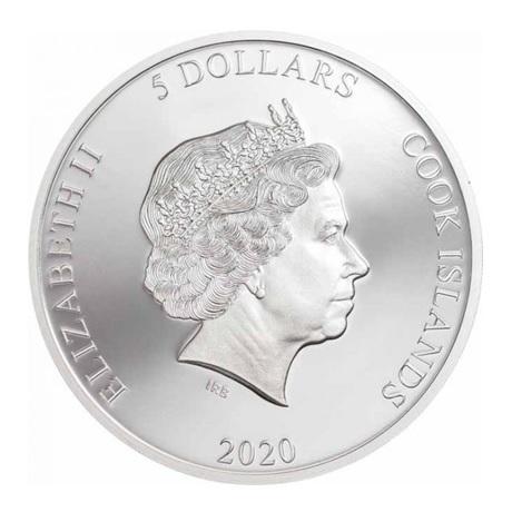(W099.500.2020.1.oz.Ag.1) 5 Dollars Iles Cook 2020 1 once argent BE - Caméléon Avers