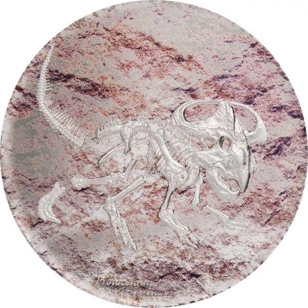 (W151.2000.Tögrög.2019.3.oz.Ag.1) 2000 Tögrög Mongolia 2019 3 oz Proof Ag - Protoceratops Reverse (zoom)